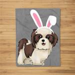 Shitzu Dog With Bunny Rabbit Hat Easter Happy Day Fleece Blanket