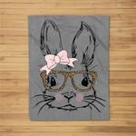 Cute Bunny Face Leopard Print Glasses EASTER Gift Fleece Blanket
