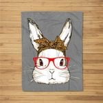 Cute Bunny Mom Leopard Bandana Sunglasses Easter Day Fleece Blanket
