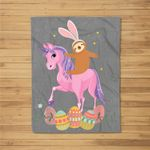 Cute Bunny Sloth Riding Unicorn Easter Adults Kids Fleece Blanket