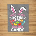 Cute Bunny Will Trade Brother for Easter Candy Fleece Blanket