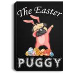 Cute Dabbing Pug Easter Puggy Bunny Dark Portrait Canvas