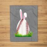 Cute Easter Baseball Bunny ear Egg Bunny Lover Gift Fleece Blanket