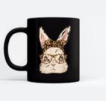 Cute Easter Bunny Leopard Bandana Sunglasses Easter Day Black Mugs