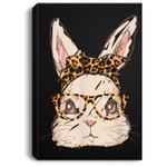 Cute Easter Bunny Leopard Bandana Sunglasses Easter Day Portrait Canvas