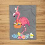 Cute Easter Flamingo with Easter Egg Basket Hunting Gift Fleece Blanket
