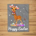 Cute Easter Giraffe with Bunny Ears and Eggs Fleece Blanket