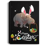 Cute Easter Hippo with Bunny Ears and Eggs Portrait Canvas