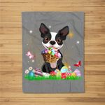Easter Day Boston Terrier With Bunny And Eggs Fleece Blanket