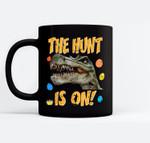 Easter Dinosaur T-Rex Boys Kids The Egg Hunt Is On Black Mugs