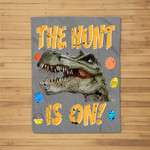 Easter Dinosaur T-Rex Boys Kids The Egg Hunt Is On Fleece Blanket