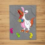 Easter Dinosaur T-Rex Eating Peeps for Kids Youth Fleece Blanket