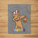 Happy Yorkies Bunny Dabbing Dab Easter Eggs Fleece Blanket