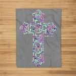 He is Risen Christian Cross Easter Bible Verse Fleece Blanket