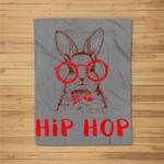 Hip Hop Easter Bunny Nerd Hipster Gift Rabbit Fleece Blanket