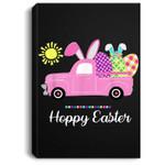 Hoppy Easter Spring Happy Easter Bunny Pun Women Kids Portrait Canvas