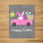 Hoppy Easter Spring Happy Easter Bunny Pun Women Kids Fleece Blanket