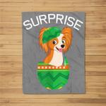 Surprise Papillion Dog in Easter Eggs Easter Gifts Fleece Blanket