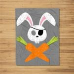 Funny Easter Bunny Rabbit Pirate Skull and Carrot Gift Fleece Blanket