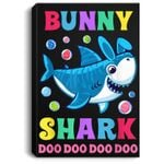 Funny Easter Shark Easter Bunny Gifts For Kids Portrait Canvas