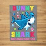 Funny Easter Shark Easter Bunny Gifts For Kids Fleece Blanket