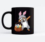 Dabbing Easter Bunny English Bulldog Boys & Design Black Mugs