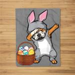 Dabbing Easter Bunny English Bulldog Boys & Design Fleece Blanket