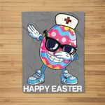Dabbing Easter Egg Stethoscope Nurse Happy Easter Fleece Blanket