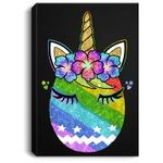 Bunny Unicorn Face Easter Egg Rainbow Easter Day Gift Portrait Canvas