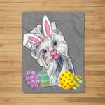 Bunny Yorkshire Terrier Dog Easter Day Dog Lovers Fleece Blanket