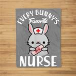 Bunny's Favorite Nurse Funny Easter Gift For Nurse Fleece Blanket