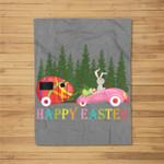 Camping Happy Easter Day Bunny eggs Gift for men women Fleece Blanket
