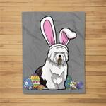 Old English Sheepdog Dressed Easter Bunny Rabbit Ears Fleece Blanket