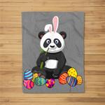 Panda Bunny Ear With Egg Easter Easter Day Fleece Blanket