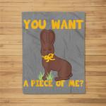 Easter Funny ns Sayings Chocolate Bunny Meme Fleece Blanket