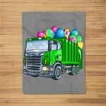 Easter Garbage Truck Men Kids Boys Bunny Basket Eggs Fleece Blanket