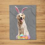 Easter Golden Retriever Funny Bunny Ears & Eggs Gift Fleece Blanket