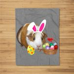 Easter Guinea Pig Funny Bunny Ears & Eggs Gift Fleece Blanket