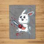 Evil Bunny Kawaii Cute Easter Rabbit With Chainsaw Halloween Fleece Blanket
