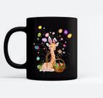 Giraffe Pet Lover Hunting Egg Full Color Easter Day Gift Black Mugs