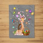 Giraffe Pet Lover Hunting Egg Full Color Easter Day Gift Fleece Blanket