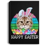 Vintage Bunny Ears With Cat Easter Portrait Canvas