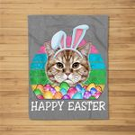 Vintage Bunny Ears With Cat Easter Fleece Blanket