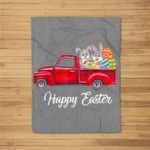 Vintage Red Truck With Egg Hunting Easter Bunny Happy Easter Fleece Blanket