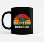 Vintage t-rex easter bunny april fools day Black Mugs