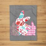 Womens Easter for Girls Easter Bunny Plaid Leopard Fleece Blanket
