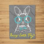 Easter Bunny Happy Hipster Rabbit Easter Egg Hunt Fleece Blanket