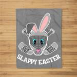 Easter Bunny Hockey Mask Eggs Hunting Rabbit Egg Fleece Blanket