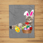 Easter Cat Funny Bunny Ears & Eggs Gift Fleece Blanket