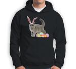Easter Cat Russian Blue Funny Bunny Ears & Eggs Gift Sweatshirt & Hoodie